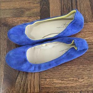 Anniel Blue Suede Flats